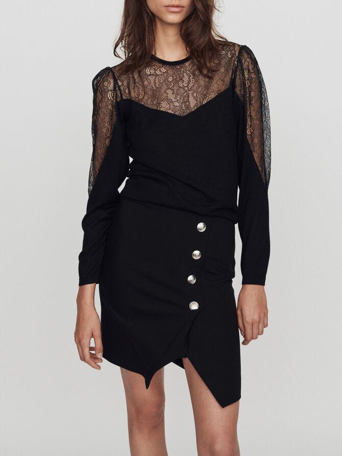 Light knit and lace sweater - SoldesBE_50 - MAJE