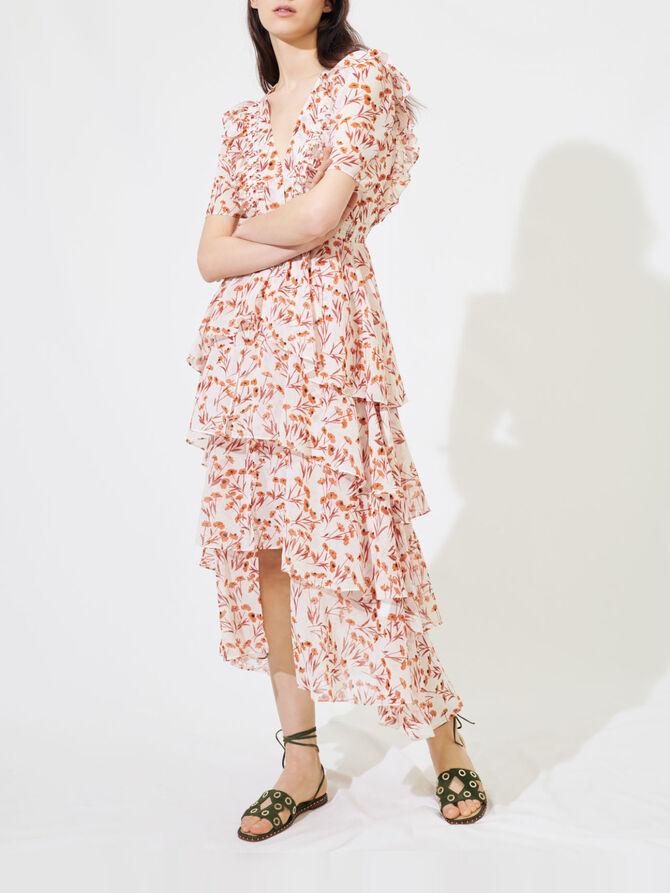 Printed maxi dress with ruffles - Dresses - MAJE