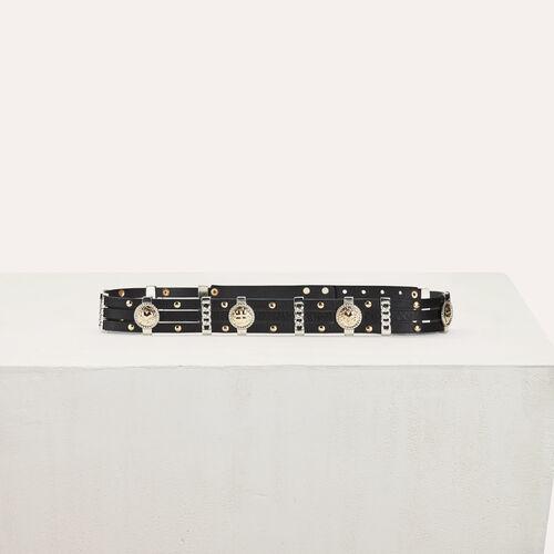 Leather belt with medallions : Belts color Black 210