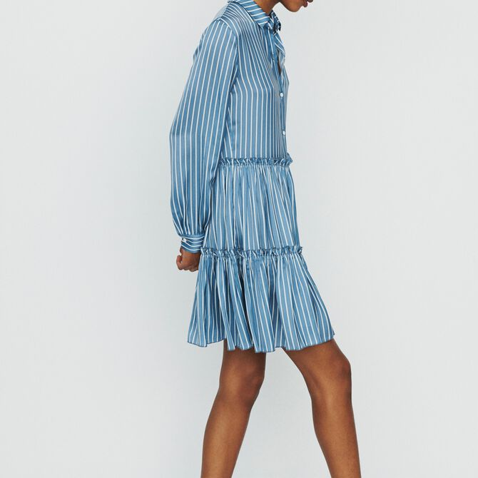 Striped shirt dress with ruffles - See all - MAJE