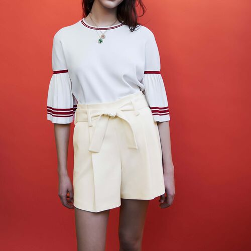 High-waisted crepe shorts : staff private sale color White