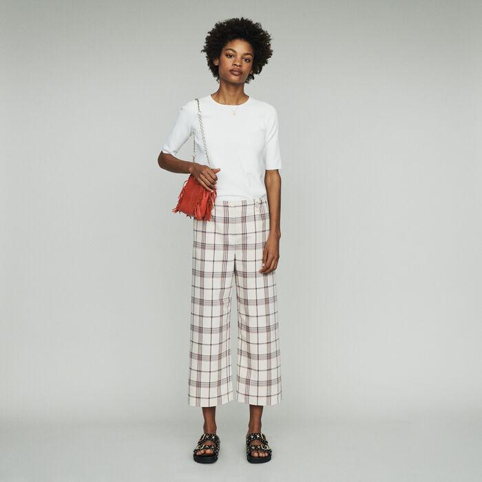 Wide leg plaid pants : Trousers & Jeans color CARREAUX