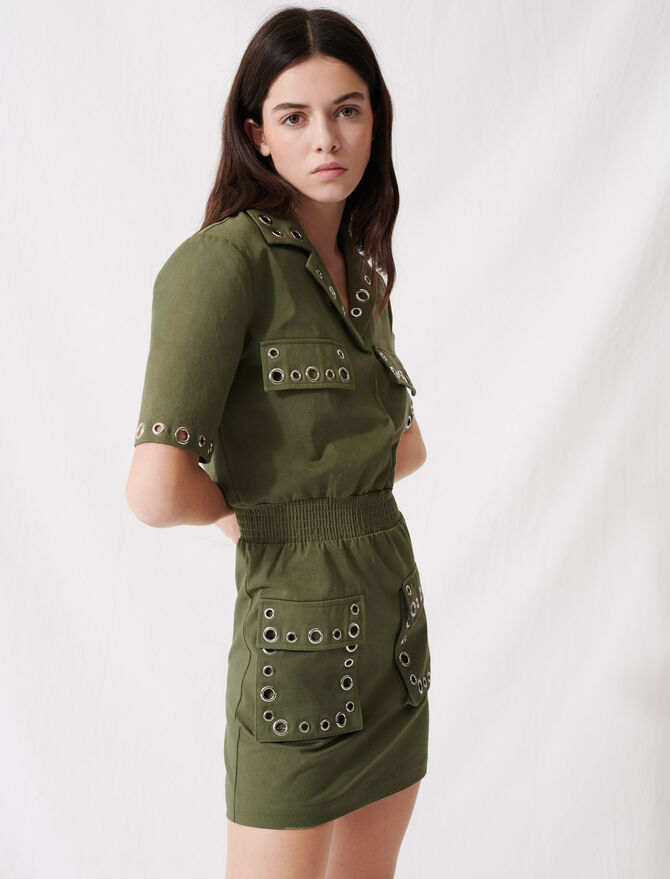Khaki safari-style dress with eyelets - Dresses - MAJE