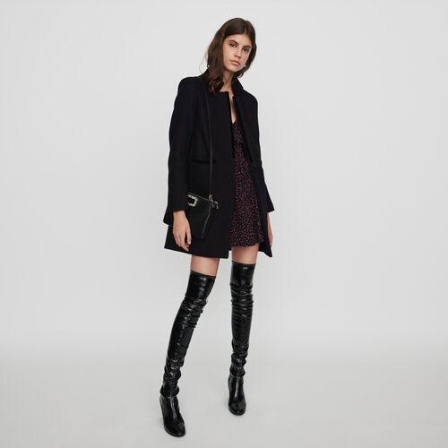 Wool and velvet coat : Coats & Jackets color Black
