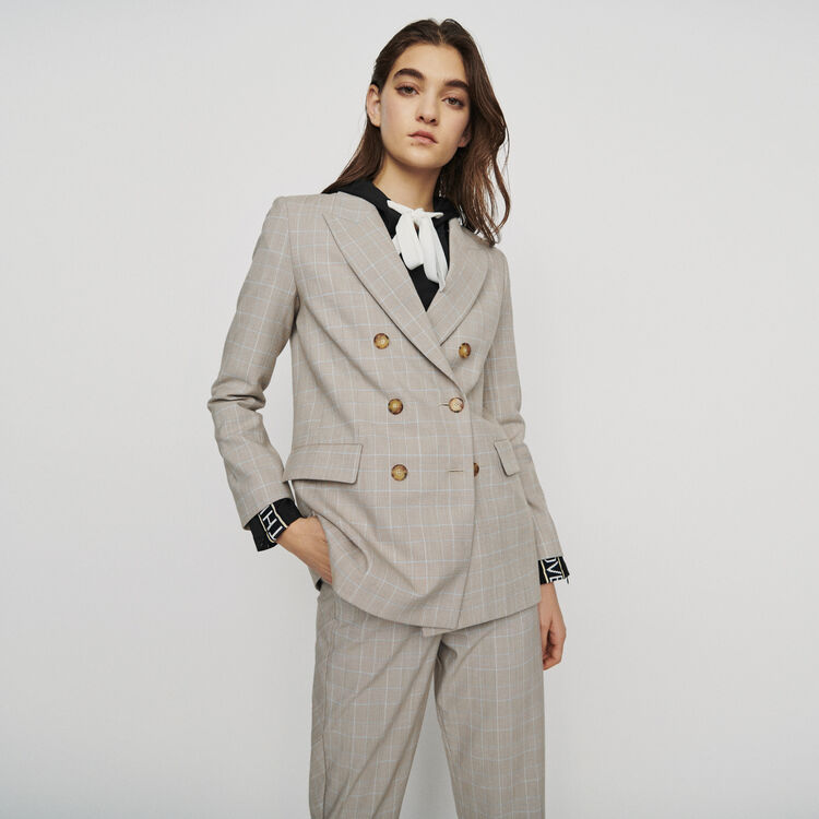 Double-breasted checked blazer : New in : Summer Collection color CARREAUX