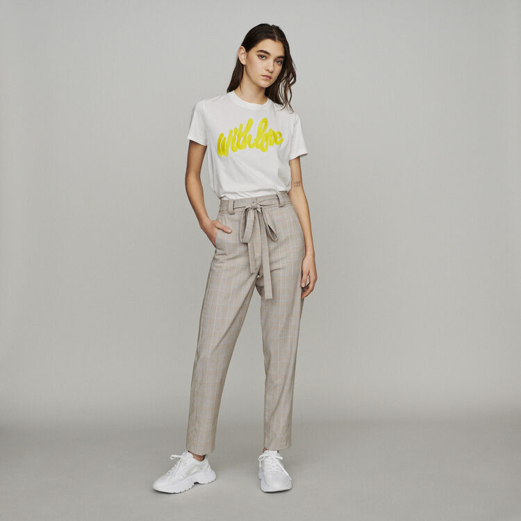 Belted checked trousers : New in : Summer Collection color CARREAUX