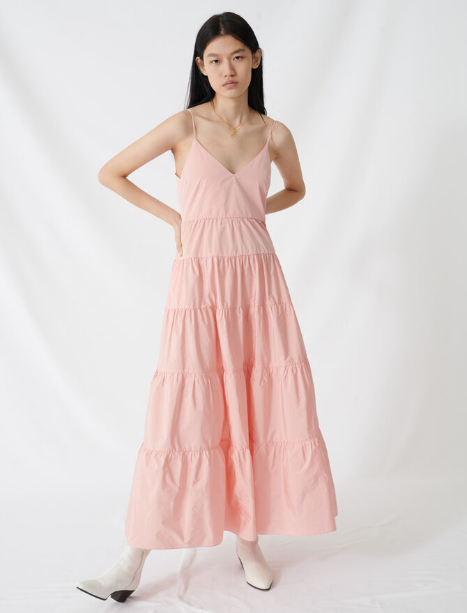 Taffeta maxi dress with thin straps - All the collection - MAJE