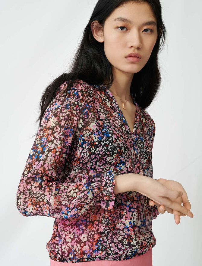 Floral-print silk dress - Tops & Shirts - MAJE