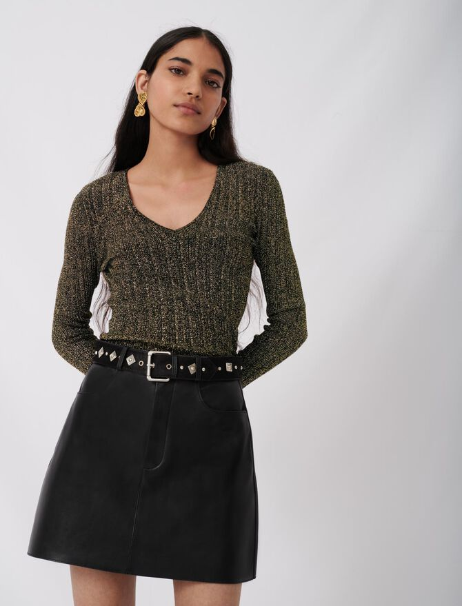 Leather skirt with fancy belt - See all - MAJE