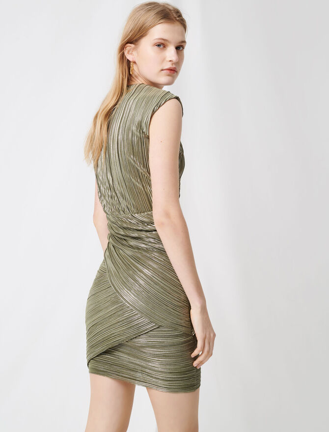 Pleated gold lurex dress - Dresses - MAJE