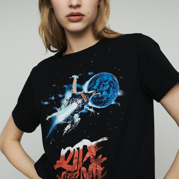 Printed T-shirt : T-Shirts color Black 210