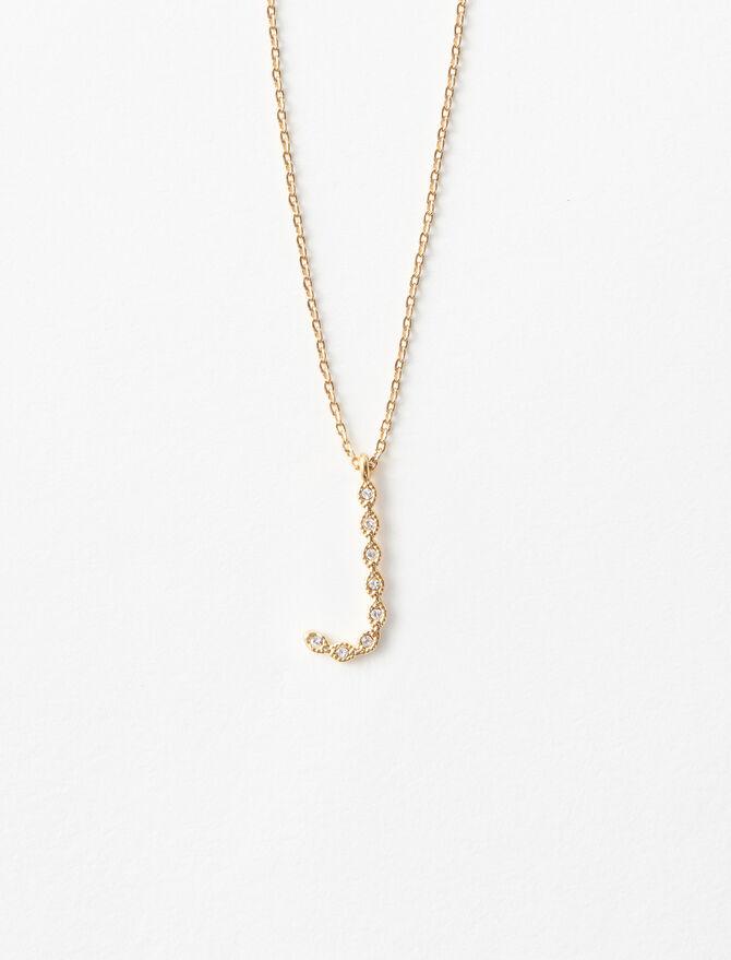 Rhinestone J necklace - Alphabet necklaces - MAJE