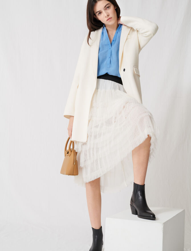 White double-faced midi coat - Blazers - MAJE
