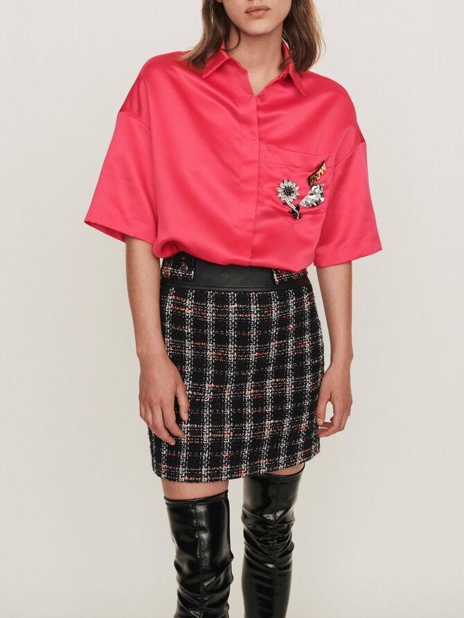 Satin shirt with jeweled pocket - Tops & T-shirts - MAJE