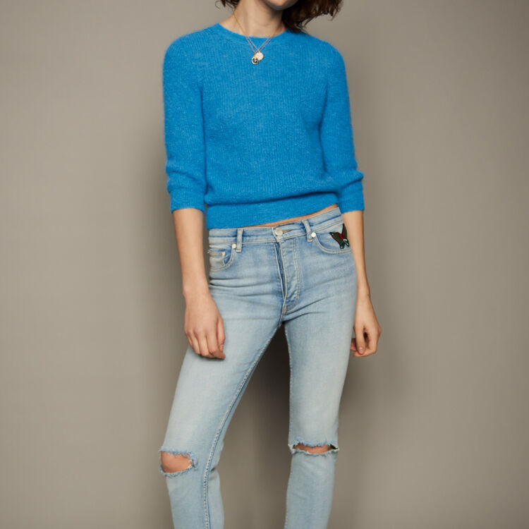 Cropped mohair sweater : staff private sale color Blue