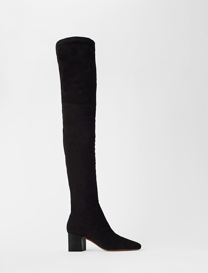 Heeled over-the-knee boots in goat suede - Booties & Boots - MAJE