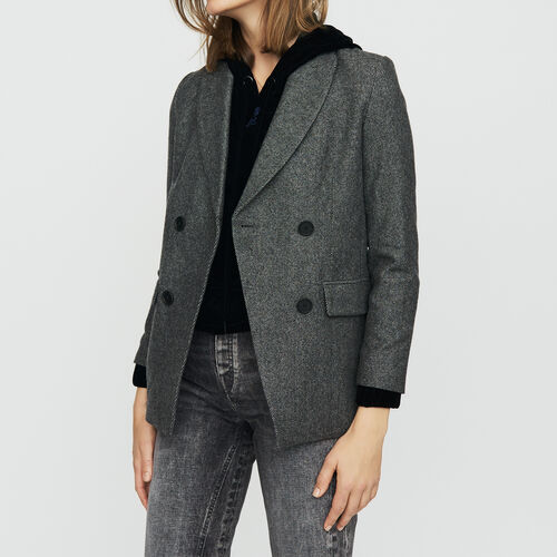 Blazer in wool blend : Blazers color Grey