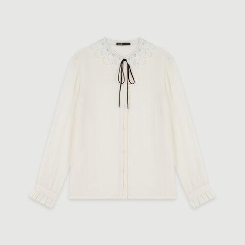 Guipure collar shirt and velvet link : Tops & Shirts color Ecru
