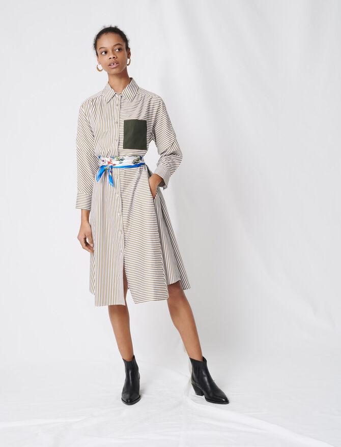 Striped shirt dress, contrasting belt -  - MAJE