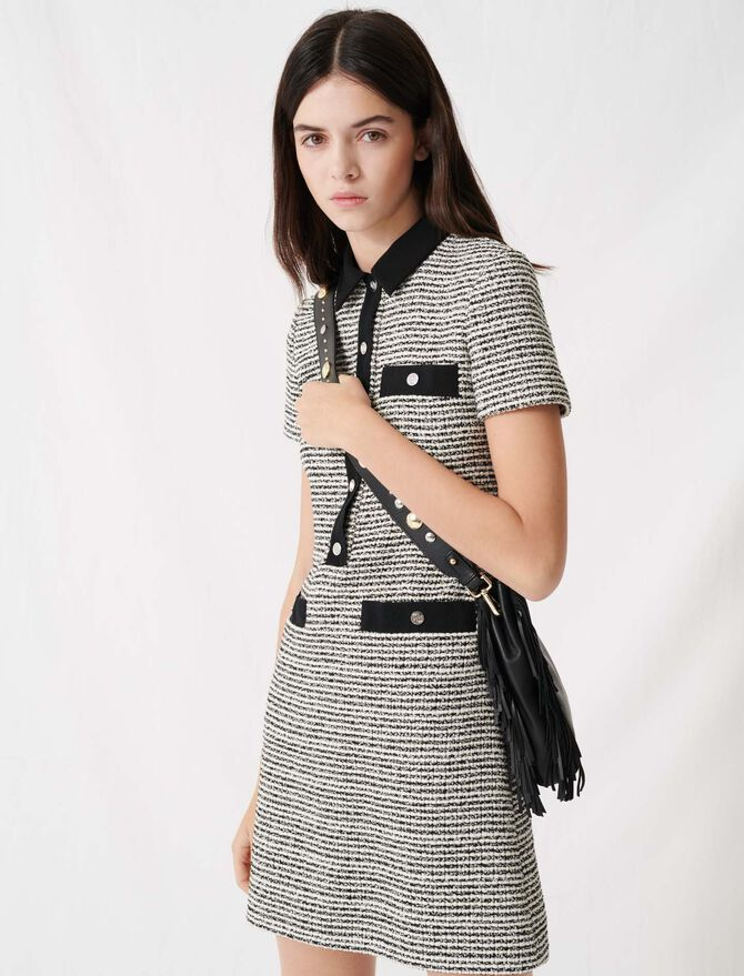 Belted tweed-style dress - Dresses - MAJE