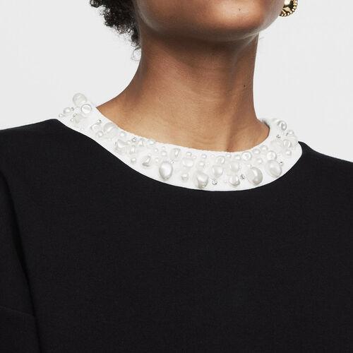 Fleece sweatshirt with pearls : Sweatshirts color Black 210