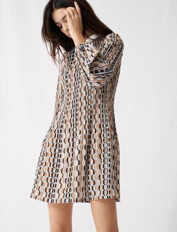 Printed pleated dress, Peter Pan collar - Dresses - MAJE