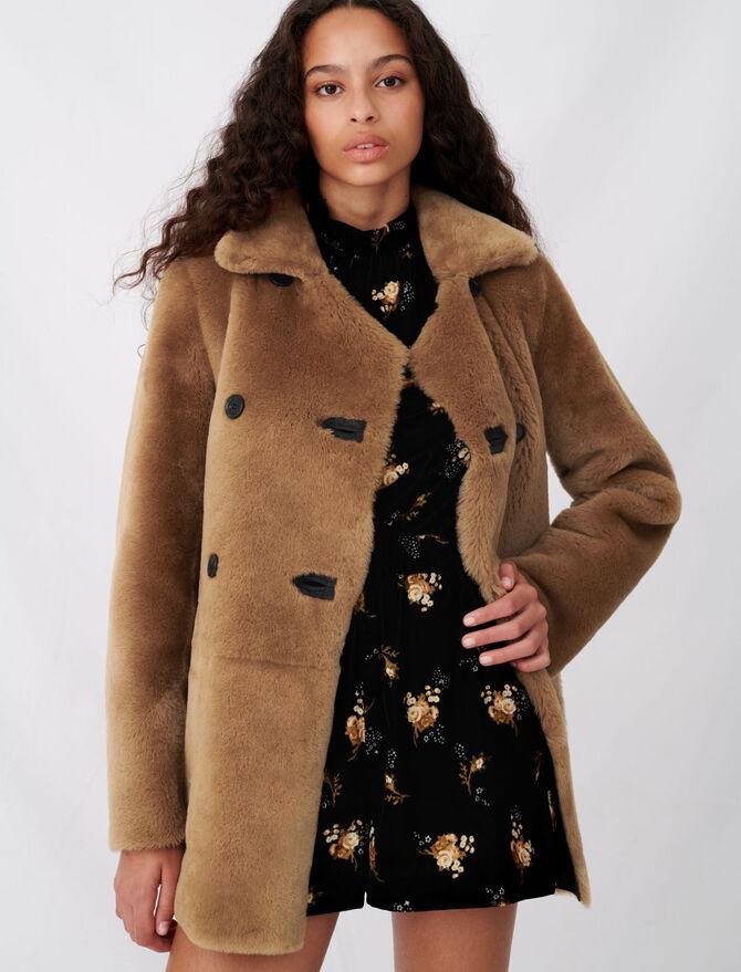 Reversible shearling coat -  - MAJE