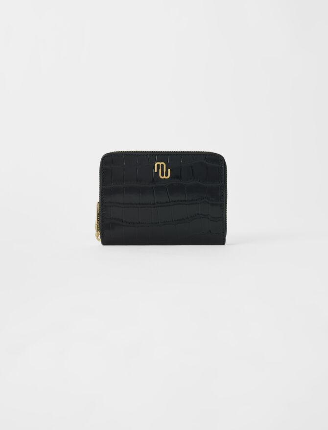 Crocodile-effect embossed leather wallet -  - MAJE