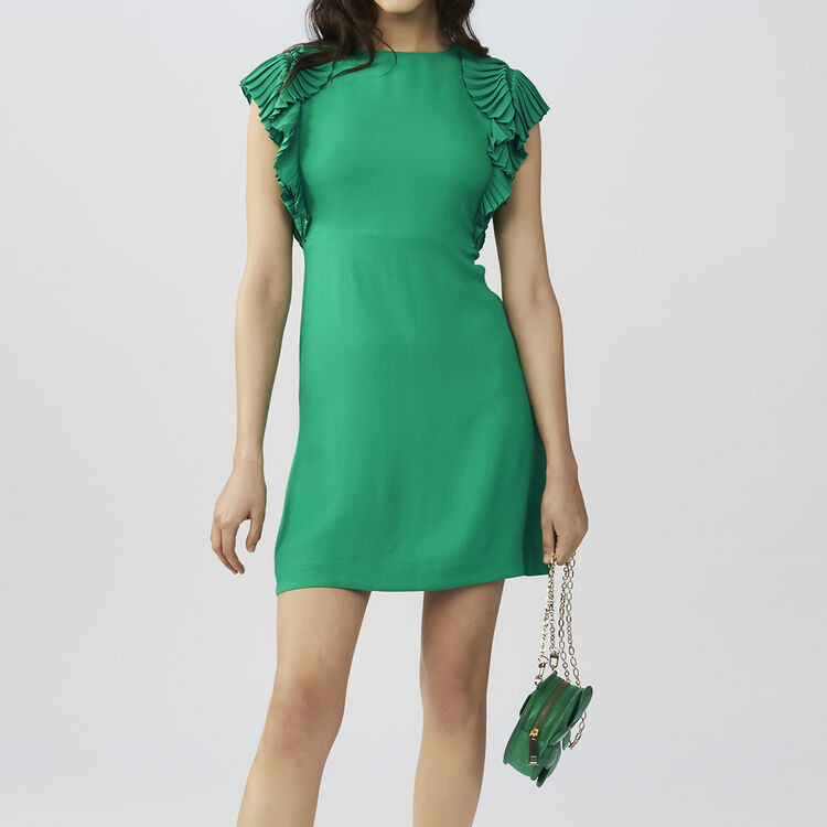 Straight cut dress with pleated sleeves : staff private sale color GREEN