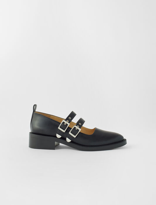 Black leather flat Mary Janes : All Shoes color Black