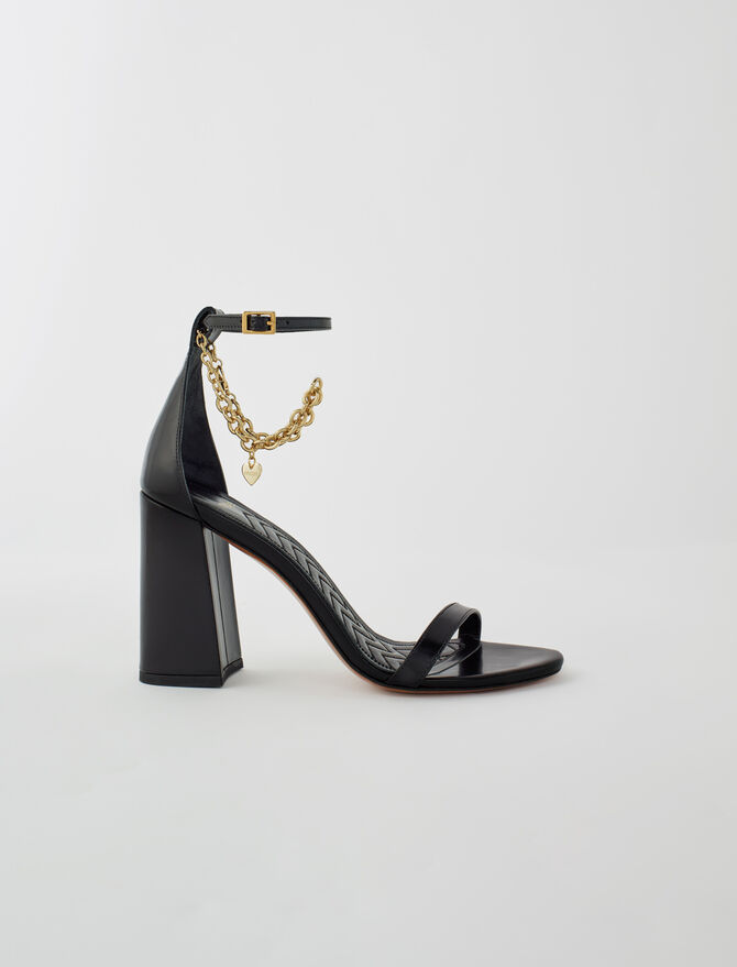 High heel sandals with gold-tone chain -  - MAJE