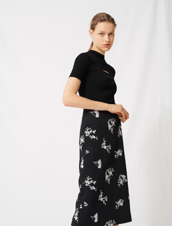Midi skirt in embroidered crêpe -  - MAJE