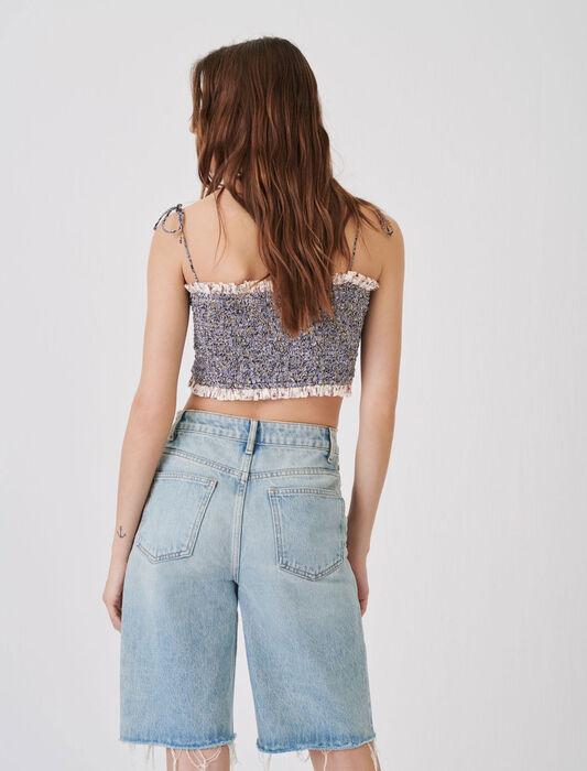 Straight-cut denim Bermuda shorts : Skirts & Shorts color Light Blue
