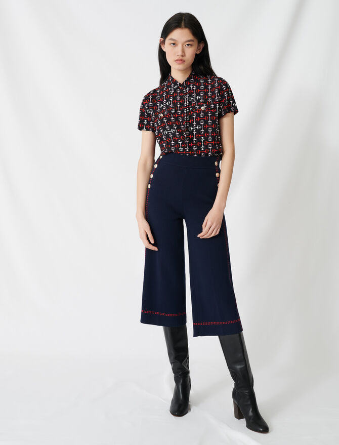 Flares with contrasting topstitching - Trousers & Jeans - MAJE