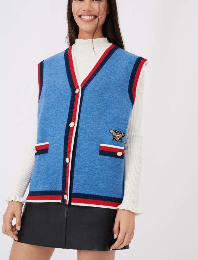 Sleeveless college cardigan - See all - MAJE