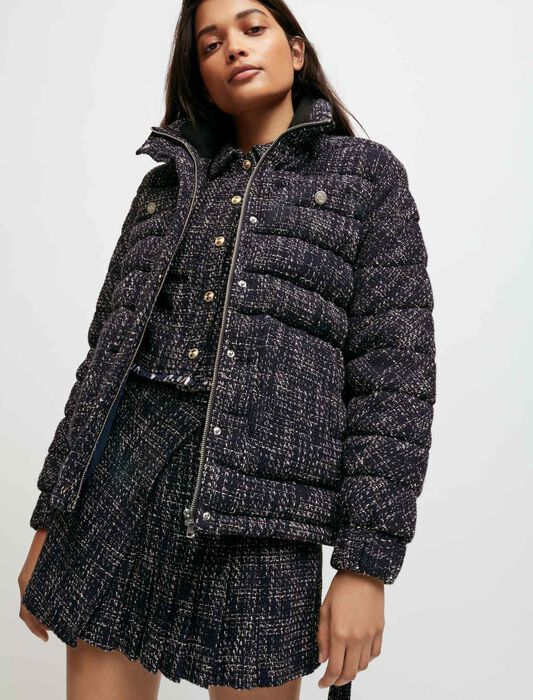 Belted tweed-style down jacket : Coats & Jackets color Navy