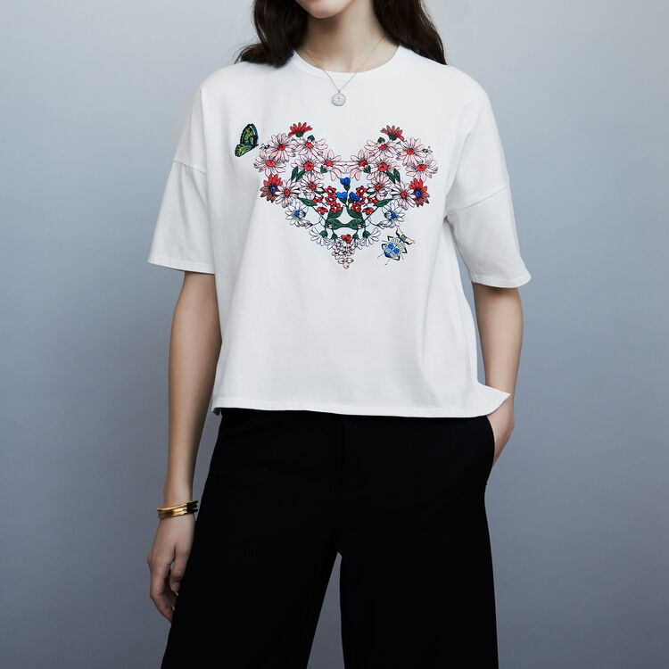 Embroidered cotton t-shirt : staff private sale color WHITE