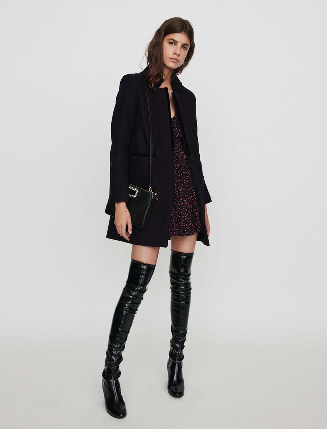 Wool and velvet coat - Timeless gifts - MAJE