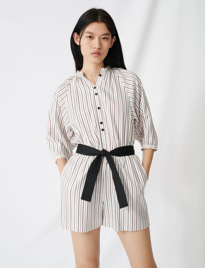 Belted pinstriped jumpsuit - Skirts & Shorts - MAJE