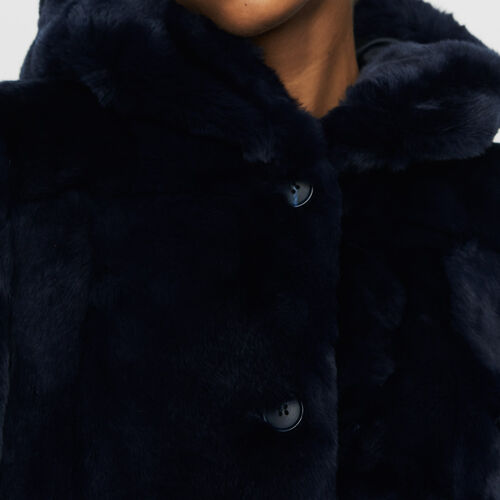 Cropped hooded fur coat : Coats color Night