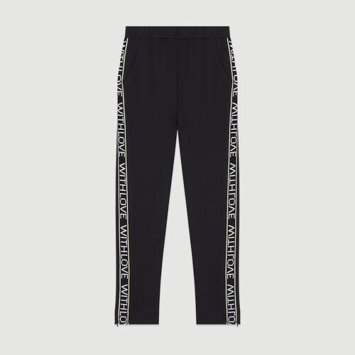 Jogging pants with elastic waist : Trousers & Jeans color Black 210