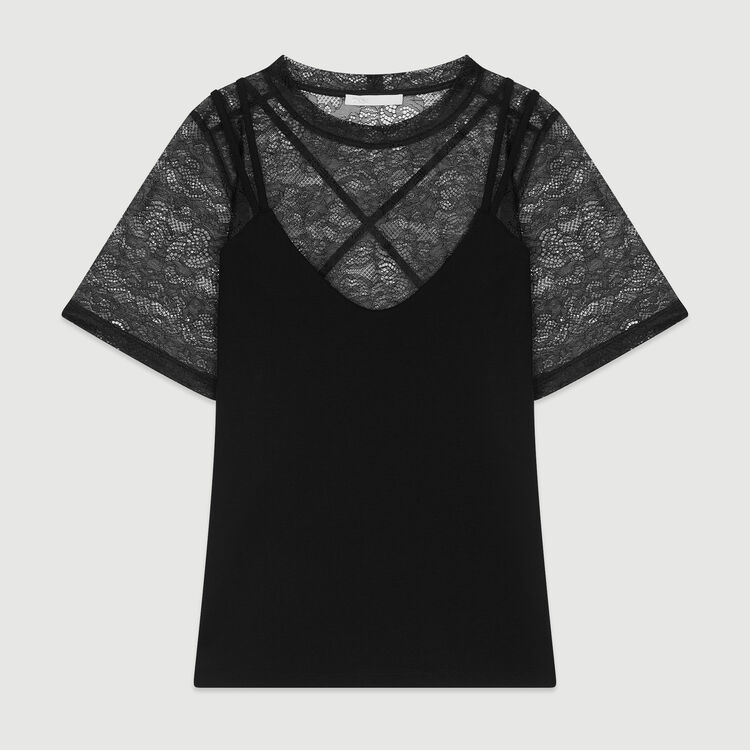 Trompe l'oeil top with lace : SoldesUK-All color Black 210