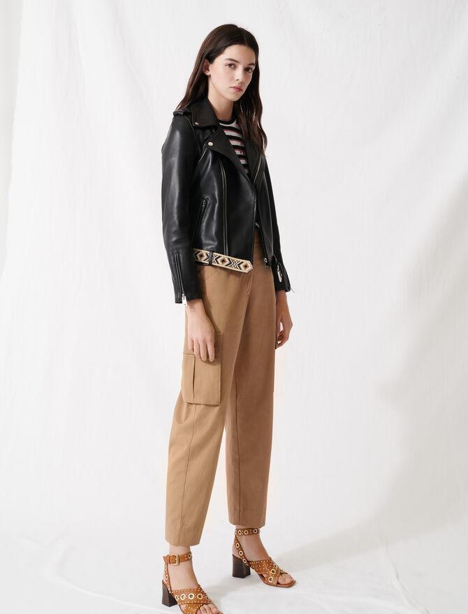 Leather jacket with boho details - Coats & Jackets - MAJE