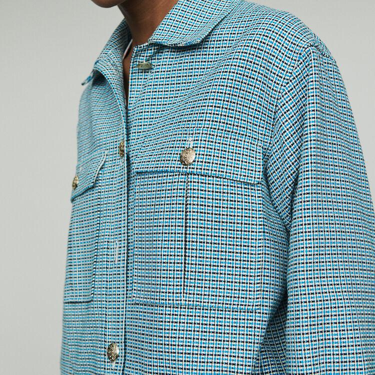 Tweed-style biker jacket : Coats & Jackets color Blue