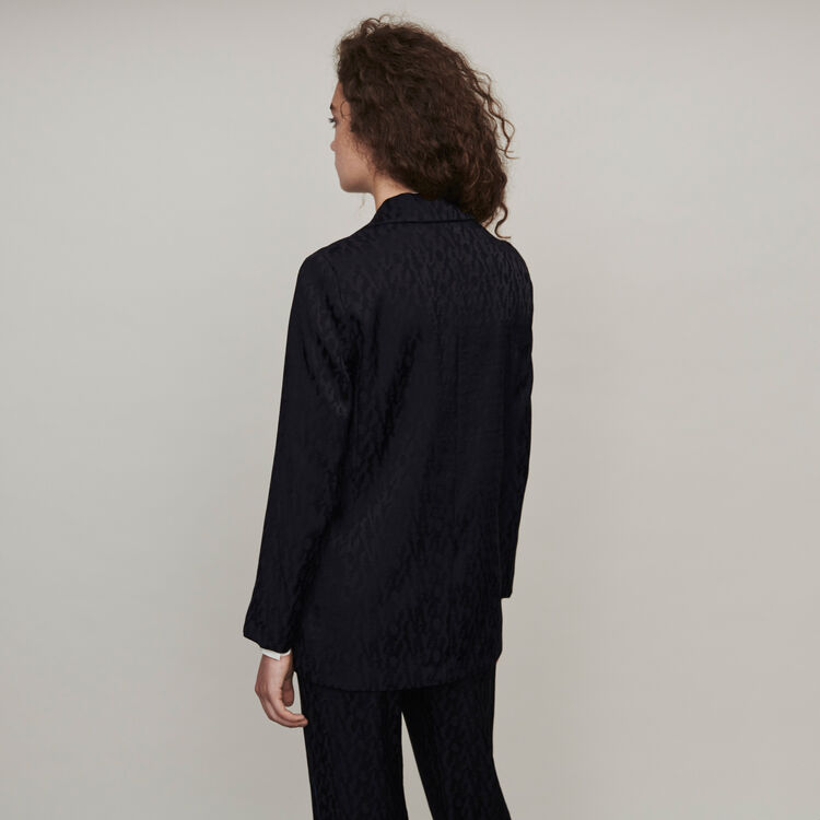 Loose-fit satin jacquard jacket : Winter collection color Black