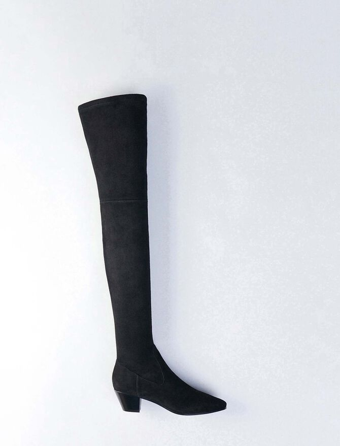 Stretch velvet goat leather thigh boots - Best Sellers - MAJE