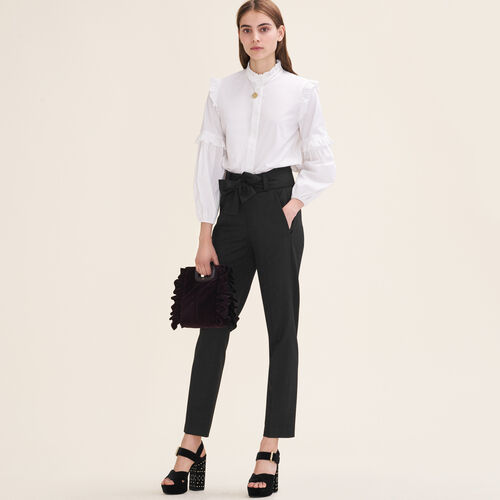 Carrot trousers with bow : Trousers color Black 210