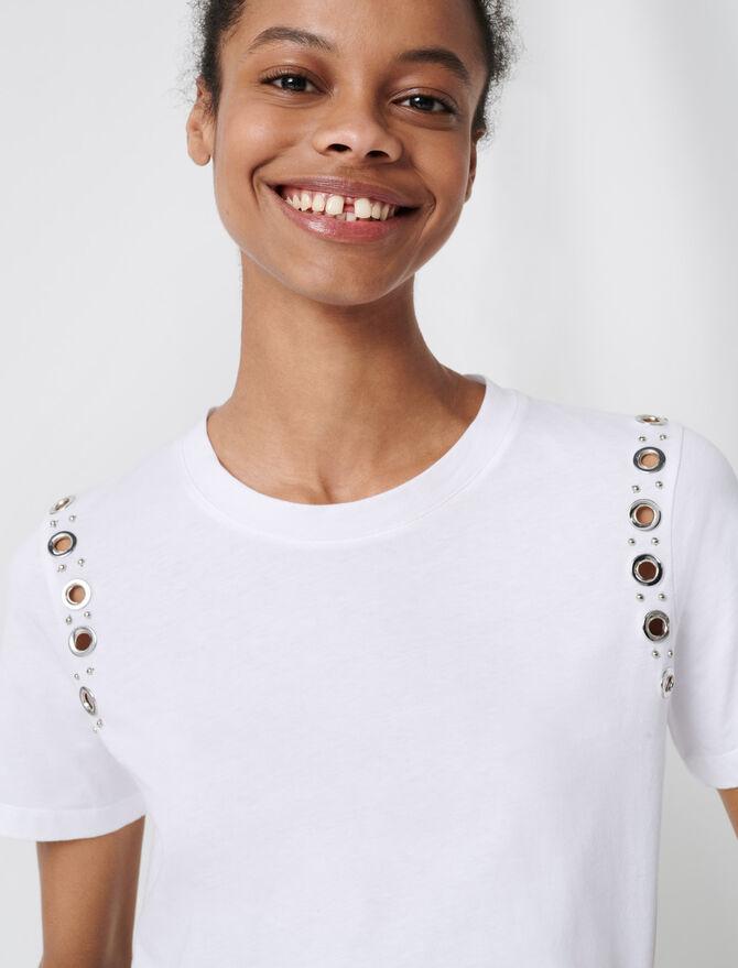 White T-shirt with rock eyelets - T-Shirts - MAJE
