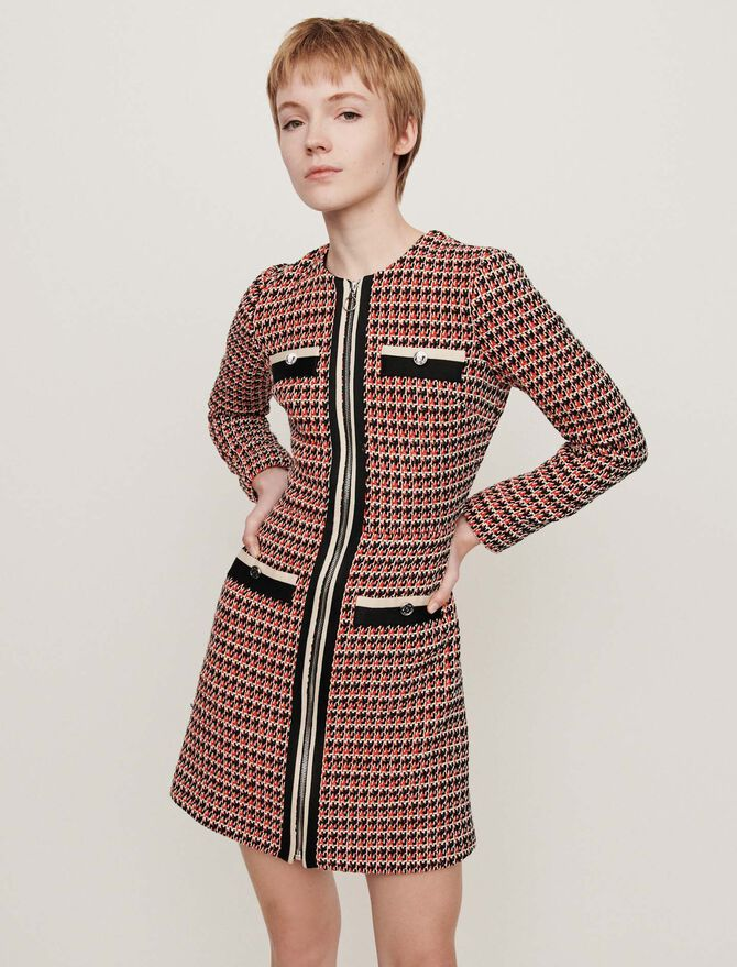 Tweed-style contrast dress - SoldesBE_50 - MAJE