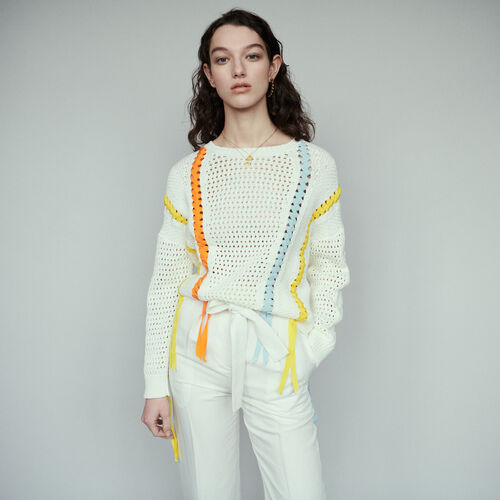 Sweater in novelty knit with ribbon : Knitwear color Ecru
